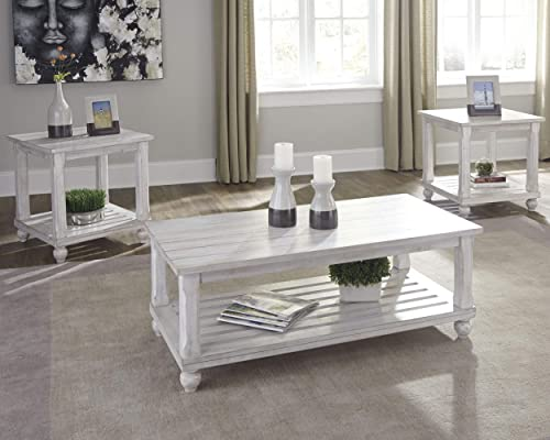 Signature Design by Ashley – Cloudhurst Contemporary 3-Piece Table Set – Includes Cocktail Table Two End Tables, White Wash Wood