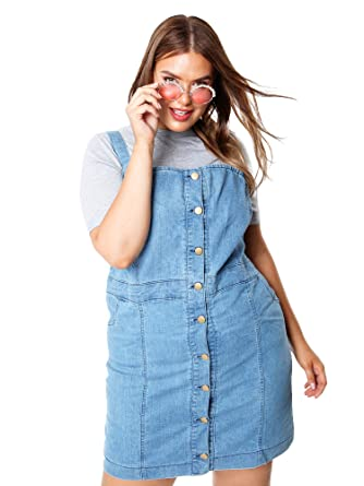 ae16796ea6a Topsy Curvy Plus Size Women s Button Front Light Blue Denim Dress 16-26 (16