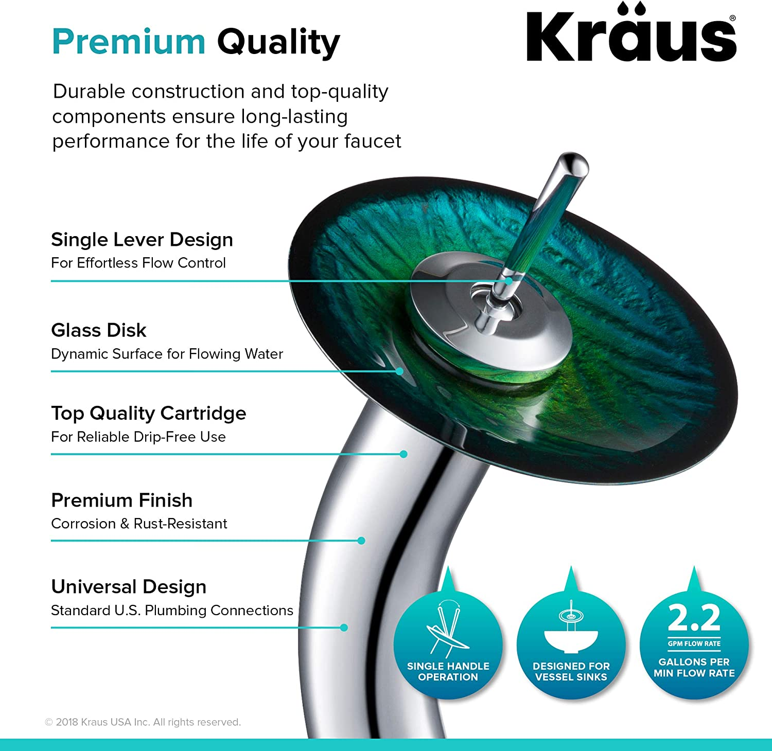 Kraus C-GV-391-19mm-10CH Nei Glass Vessel Sink and Waterfall Faucet Chrome