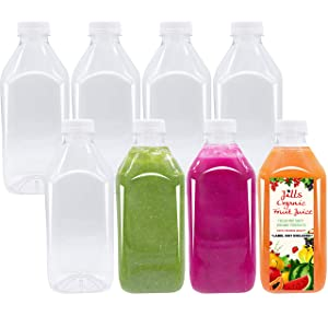 32 OZ Bottle Empty PET Plastic Juice - Pack of 8 Reusable Clear Disposable Milk Bulk Containers with White Tamper Evident Caps Lids