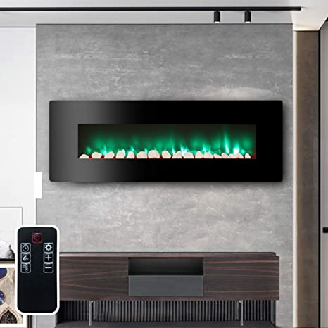 Lokatse Home 48 Wall Recessed Mounted Free Standing Electric Fireplace Insert With Remote Control Realistic 7 Flame Available 3 Color Moon Light Patterns 1400w Heater Log Crystal Hearth Options