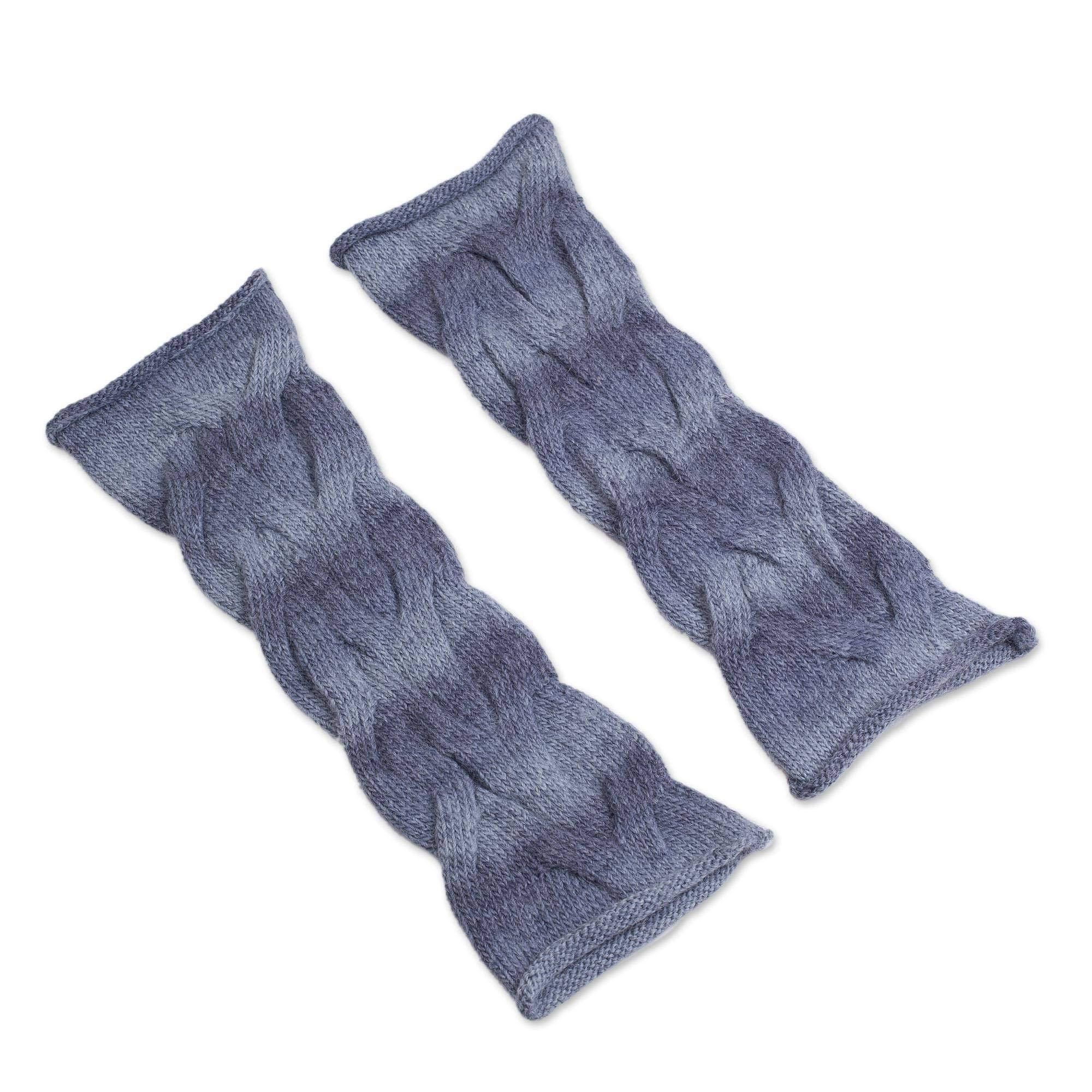 NOVICA Blue Alpaca Blend Leg Warmers, Stormy Sea' by NOVICA