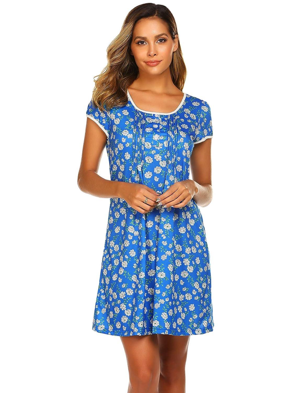 Ekouaer Womens Nightgowns Cute Cartoon Print Sleep Shirts Sleepwear