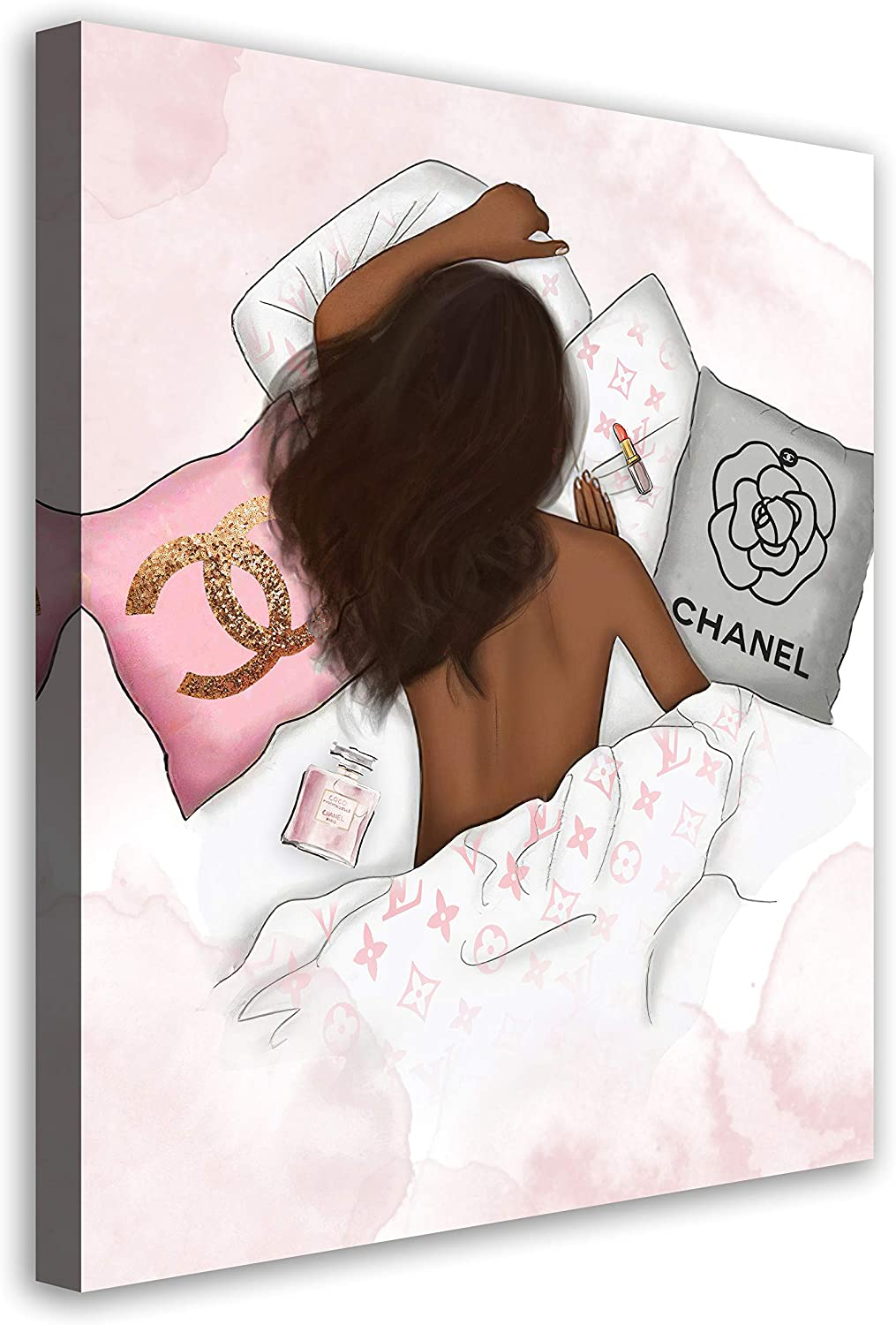 African American Wall Art Glam Fashion Black Girl Pink Canvas Prints Modern Artwork Contemporary Black Women Painting Picture For Bedroom Living Room Bathroom Wall Decor Framed Ready To Hang 16x20Inch