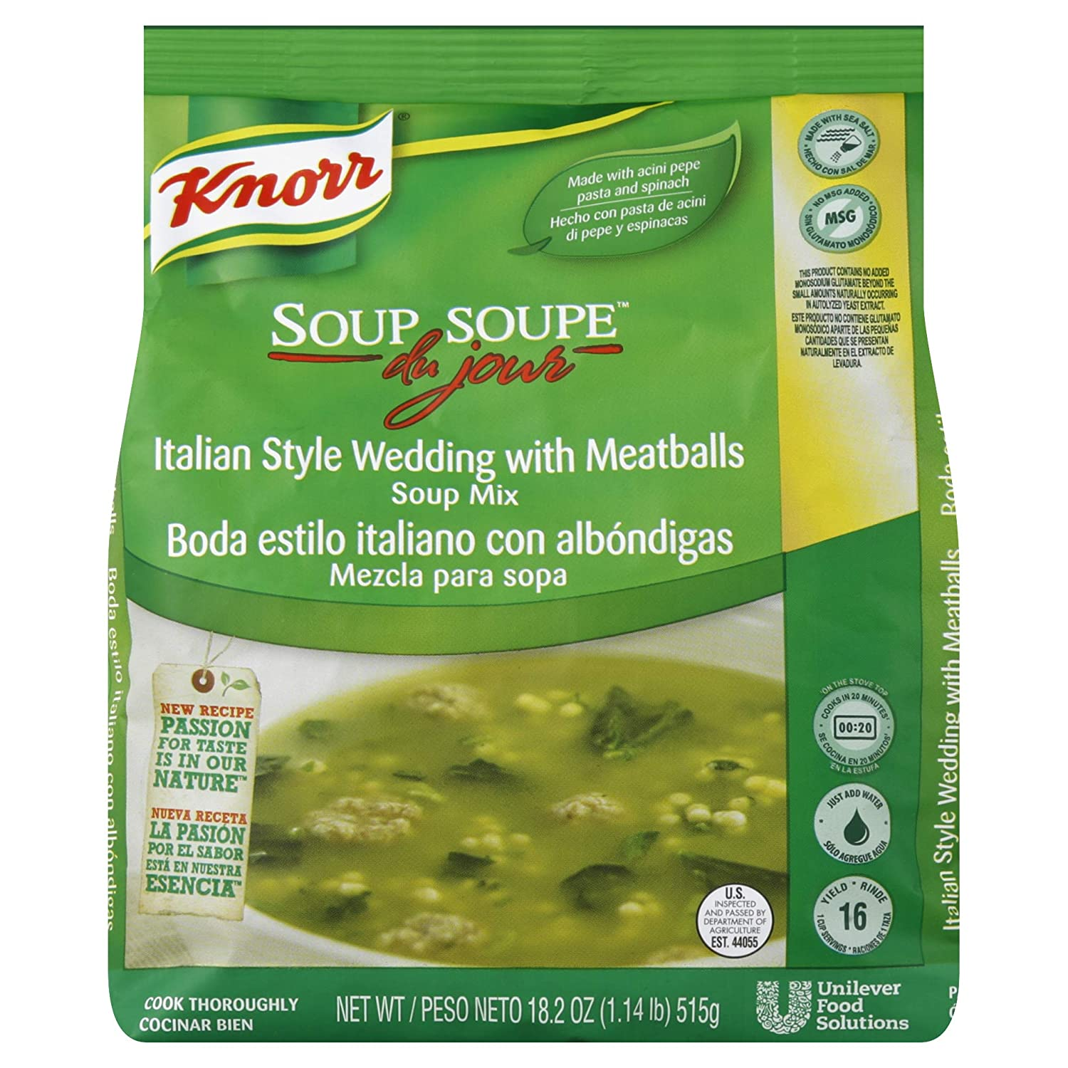 Amazon.com : Knorr Soup du Jour Mix Italian Style Wedding with Meatballs 18.2 oz, Pack of 4 : Grocery & Gourmet Food