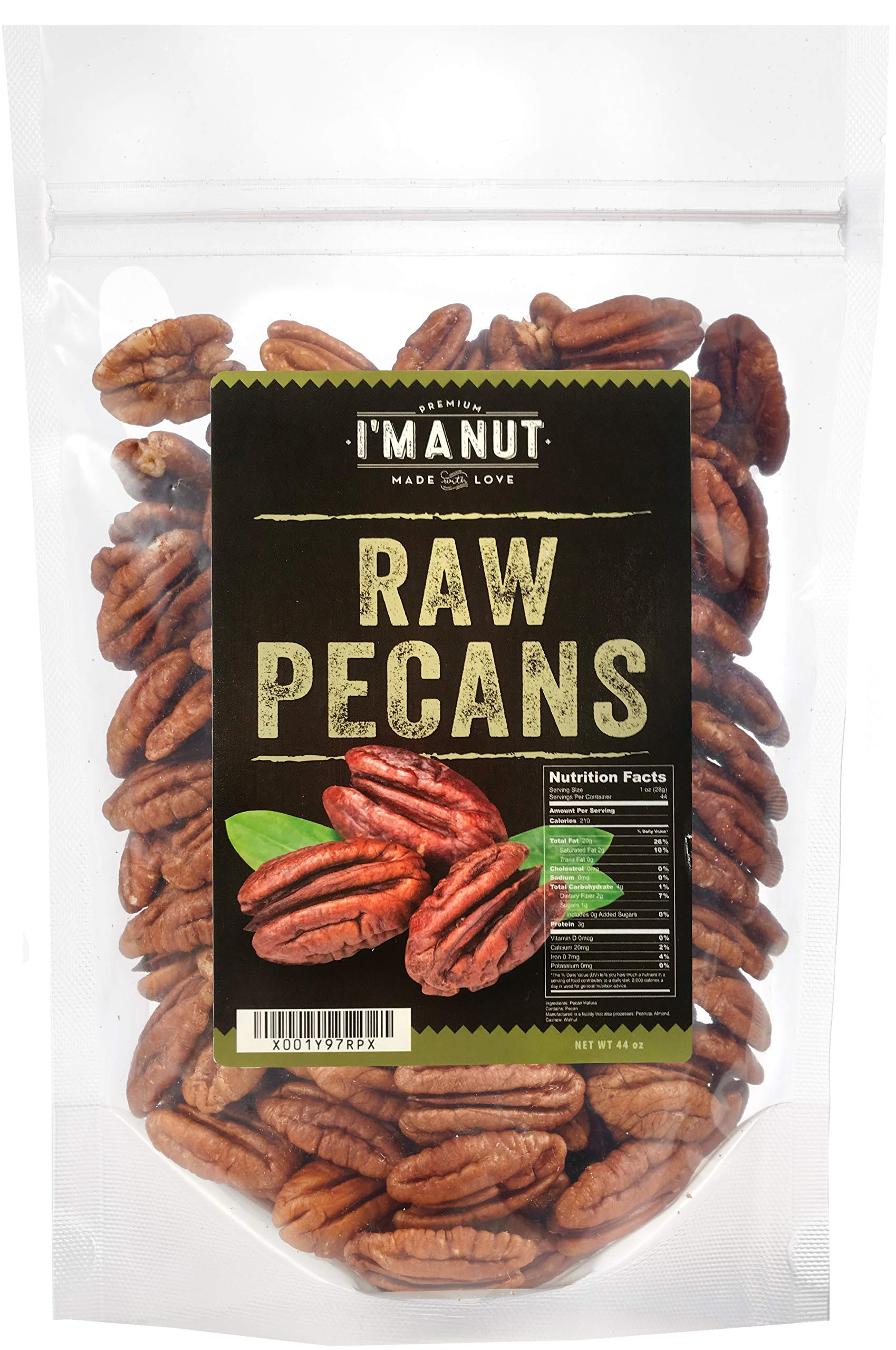 Raw Pecans Halves, 44oz(2.75 Pounds) Compares to Organic, NO PPO, Unpasteurized, 100% Natural, Extra Fancy, No Preservatives, Non-GMO, Pecan Halves 2.75 lb by I'm A Nut