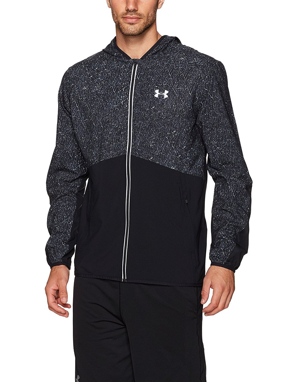 Under Armour Men's Run True Printed Jacket,Black (001)/Reflective, Medium by Under Armour (Image #1)
