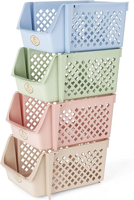 Amazon Com Titan Mall Stackable Storage Bins For Food Snacks Bottles Toys Toiletries Plastic Storage Baskets Set Of 4 15x10x7 Inch Bin Blue Green Pink Khaki Color Shelf Baskets