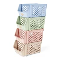 Titan Mall Stackable Storage Bins for Food, Snacks, Bottles, Toys, Toiletries, Plastic...