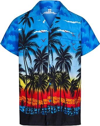 Redstar Fancy Dress - Camisa Hawaiana de Manga Corta - para Hombre - Palmeras - Todas Las Tallas - Azul - XL: Amazon.es: Ropa y accesorios