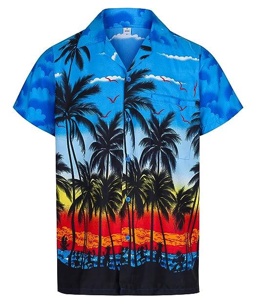 Redstar Fancy Dress - Camisa Hawaiana de Manga Corta - para Hombre - Palmeras - Todas Las Tallas - Azul - XXL: Amazon.es: Ropa y accesorios