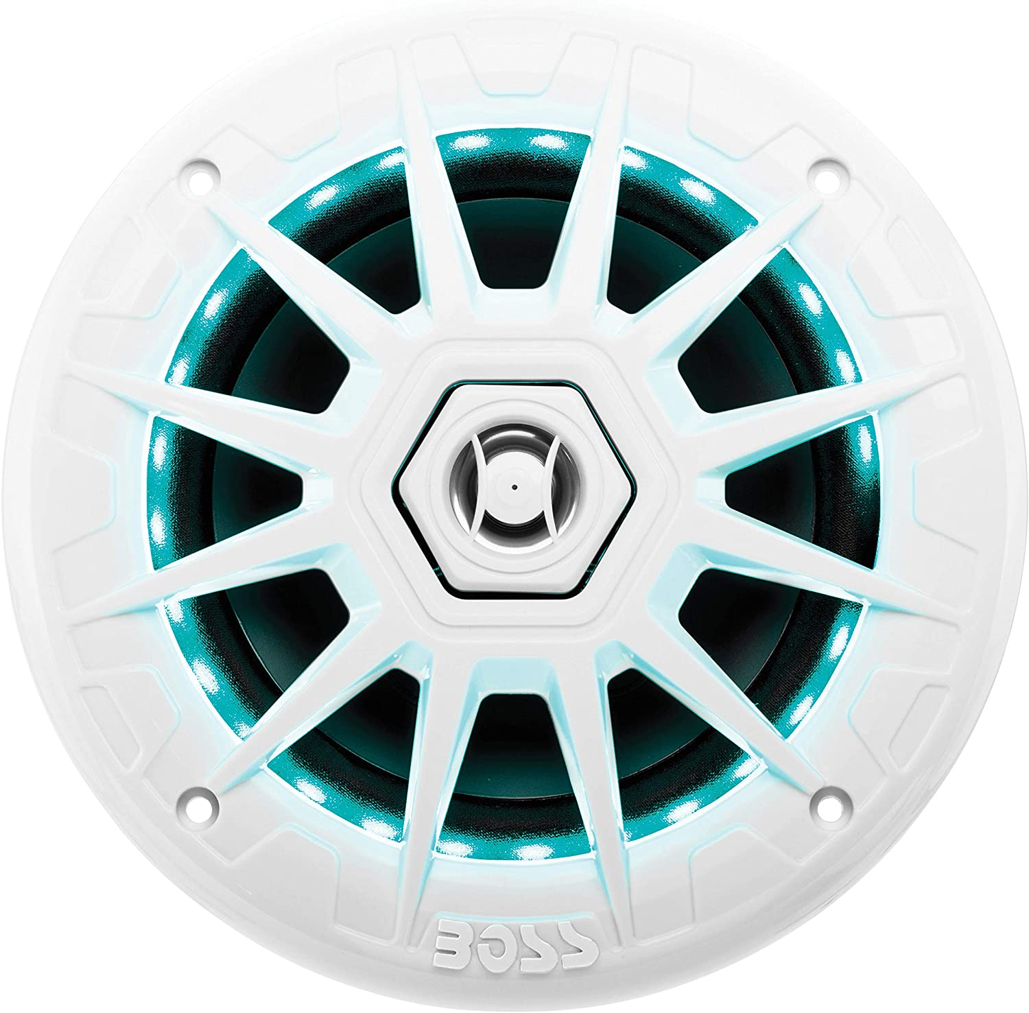 BOSS Audio Systems MRGB65 6.5 Inch Marine Speakers - Weatherproof, 200 Watts Per Pair, 100 Watts Each, Multi-Color Illumination, Full Range, 2 Way, Sold in Pairs, White