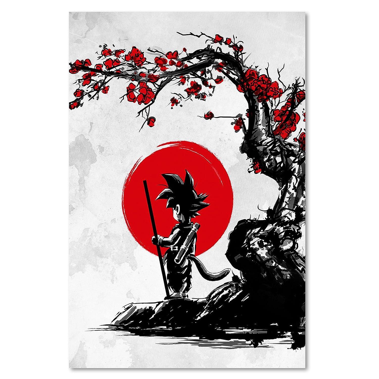 Feeby. Wandbilder - 1 Teilig- Teilig- Teilig- 50x70 cm - Bilder Kunstdrucke Deko Panel, Saiyan Under The Sun - DDJVigo, Anime, Grau 66982f