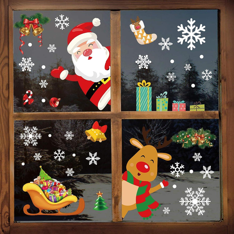 YILEEY Pegatinas De Navidad Ventana, 160 piezas de copo de nieve de Santa y Rudolph 2020 Decoraciones navideñas, pegatinas de PVC extraíbles para puertas, escaparates, frentes de vidrio