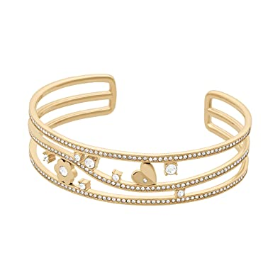 1e17b3491949 Image Unavailable. Image not available for. Color  Michael Kors Womens Gold-Tone  Flower Bangle ...