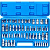 CASOMAN Master Torx Bit Socket and External Torx Socket Set, 60-Piece Set, S2 and Cr-V Steel,E4-E24, T6-T70,TT6-TT70,TP8…