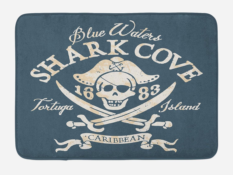 "Lunarable Pirate Bath Mat, Shark Cove Tortuga Island Caribbean Waters Retro Jolly Roger, Plush Bathroom Decor Mat with Non Slip Backing, 29.5"" X 17.5"", Mustard Blue"