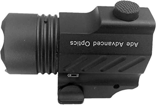 Ade Advanced Optics PL200S-A-1 Ultra Compact Tactical Strobe Flashlight 400 Lm Pistol Handgun Torch Light with Strobe Mode for Hiking, Camping, Hunting Other Indoor Outdoor Activities