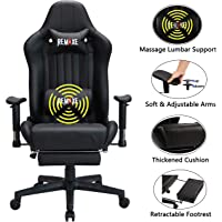 Large Size Gaming Chair High-Back PC Racing Chair Headrest Lumbar Massager Cushion Ergonomic Swivel PC Racing Chair with Retractable Footrest,PU Leather Executive Home Computer Chair