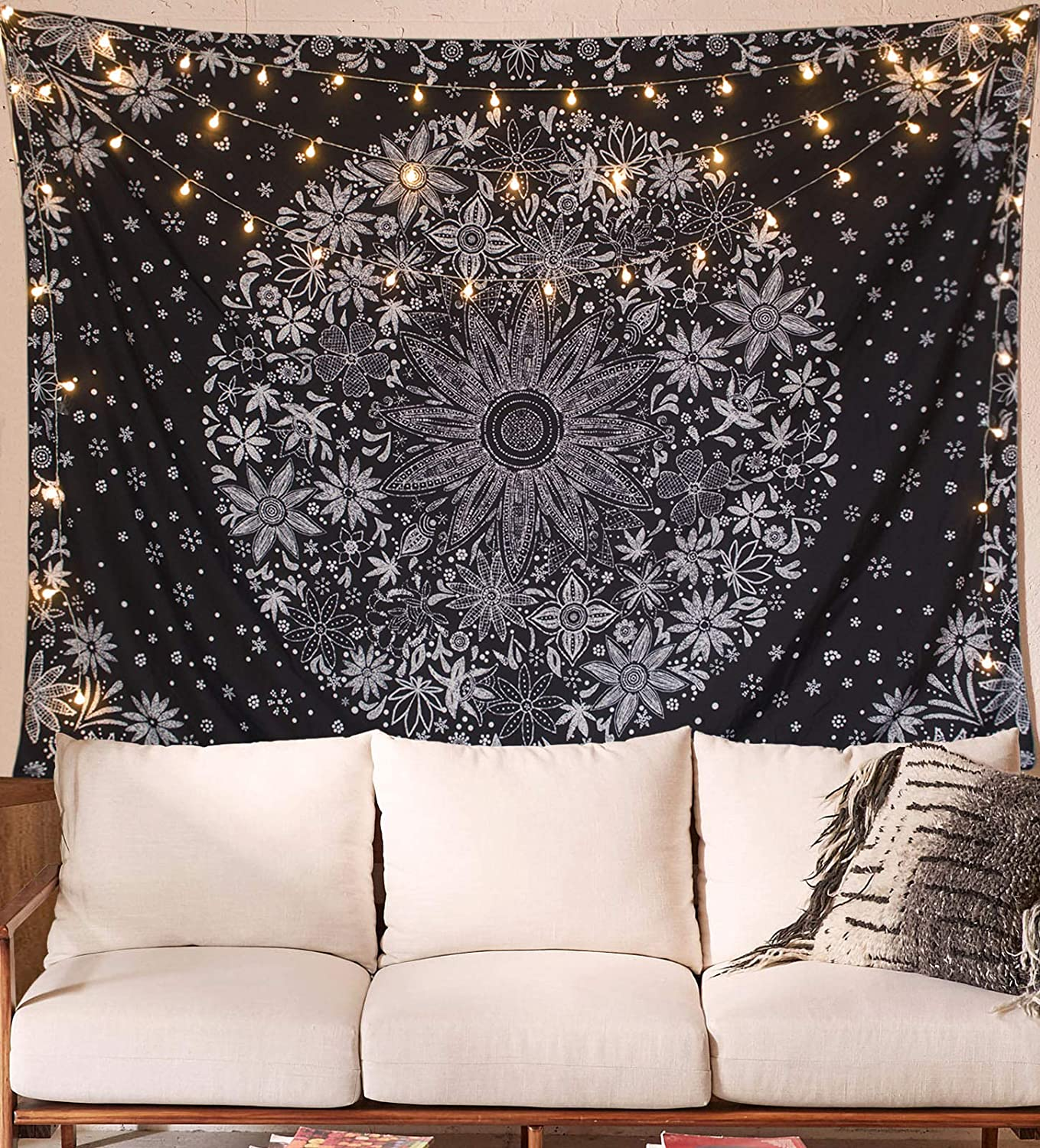 Neasow Bohemian Tapestry Wall Hanging,Black and White Floral Tapestry with Dotted Daisy Medallion Print Bedroom Boho Hippie Home Decor, 70×90 inches