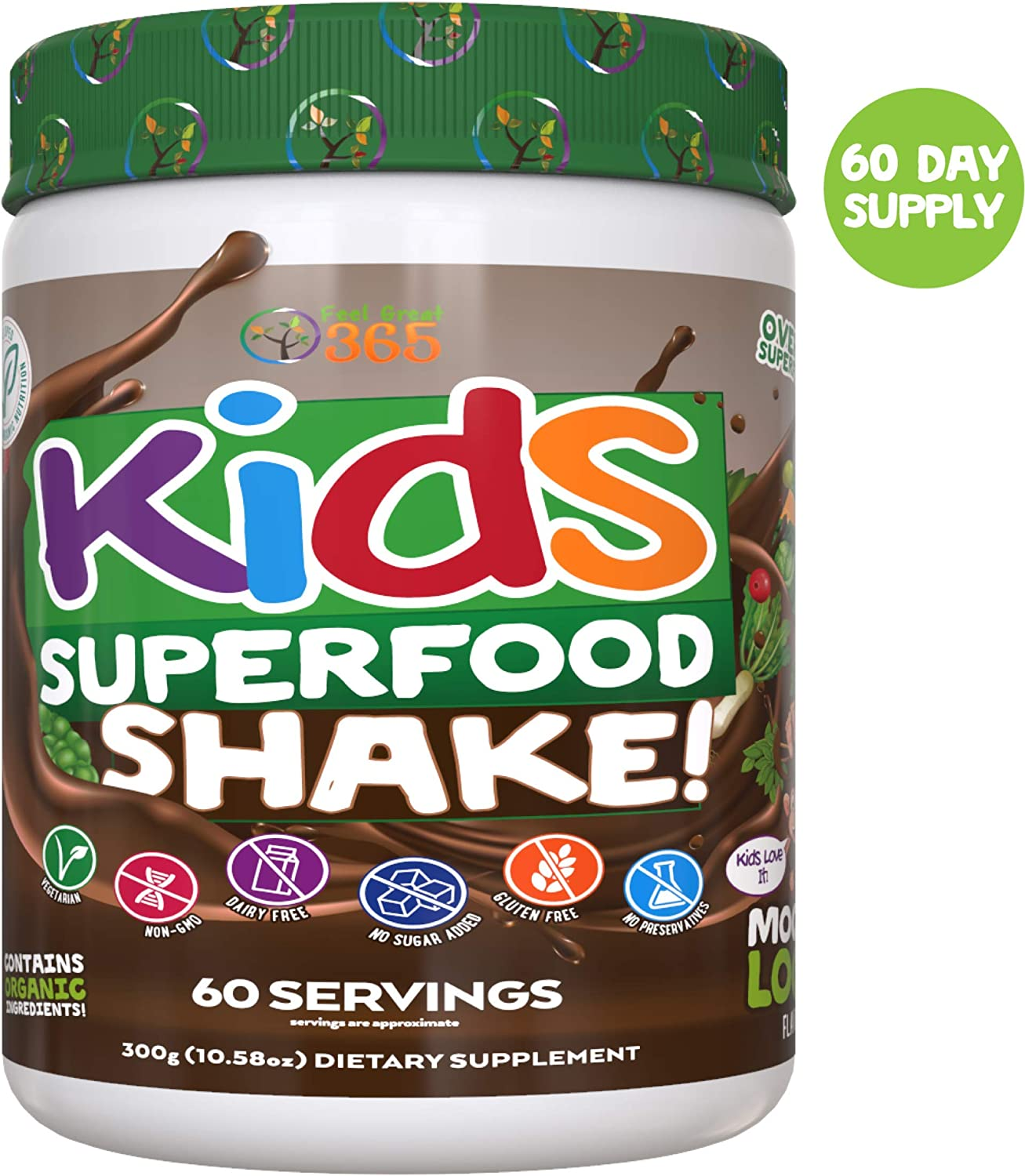 Kids Superfood Shake Mocha Greens Powder by Feel Great 365