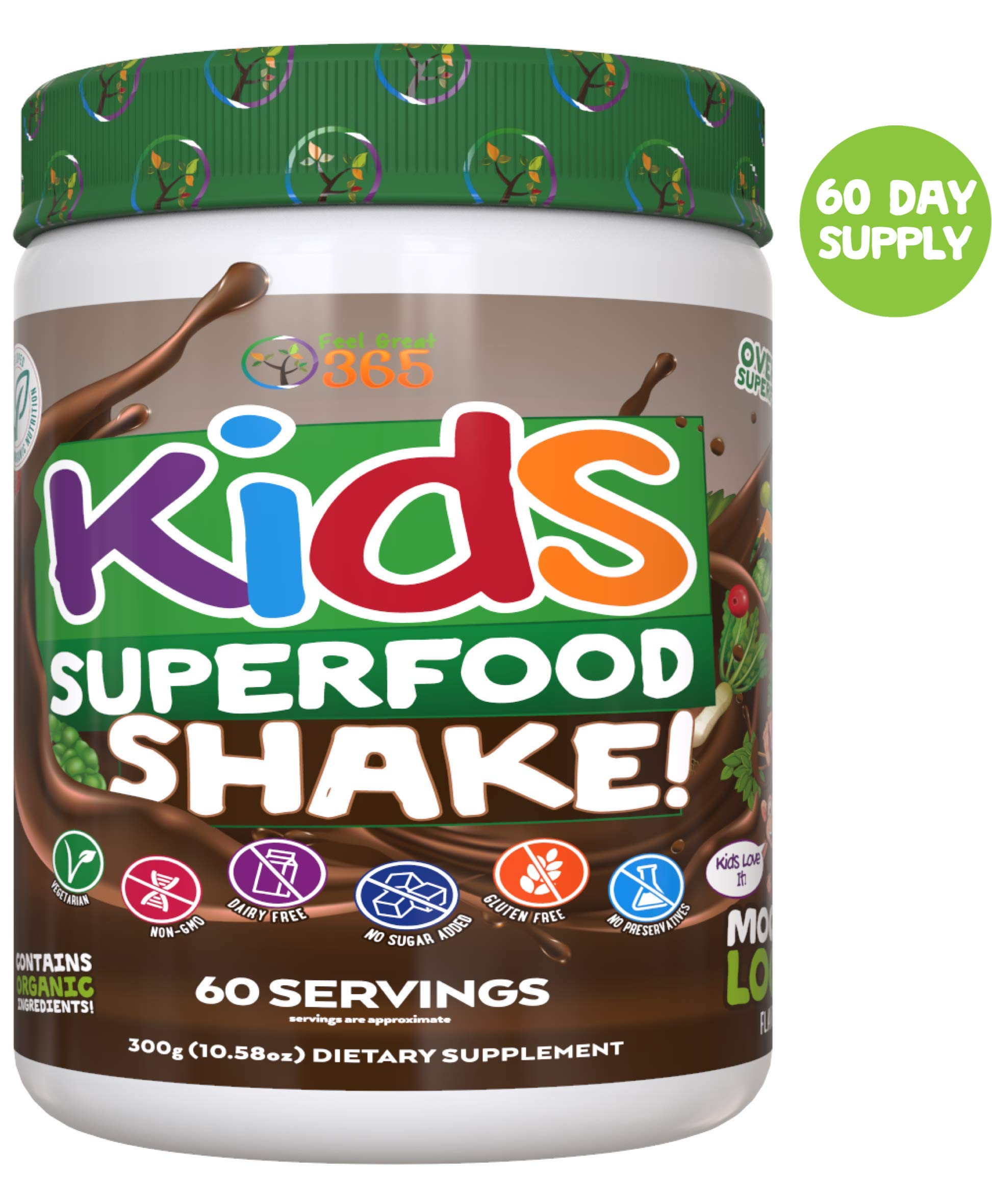 Kids Superfood Shake Mocha Greens Powder by Feel Great 365 (60 Servings), 100% Non-GMO, Made with Real Fruits & Vegetables, Multivitamin, Vegan Blend. Helps Build Immunity and Big Brains. by Feel Great 365