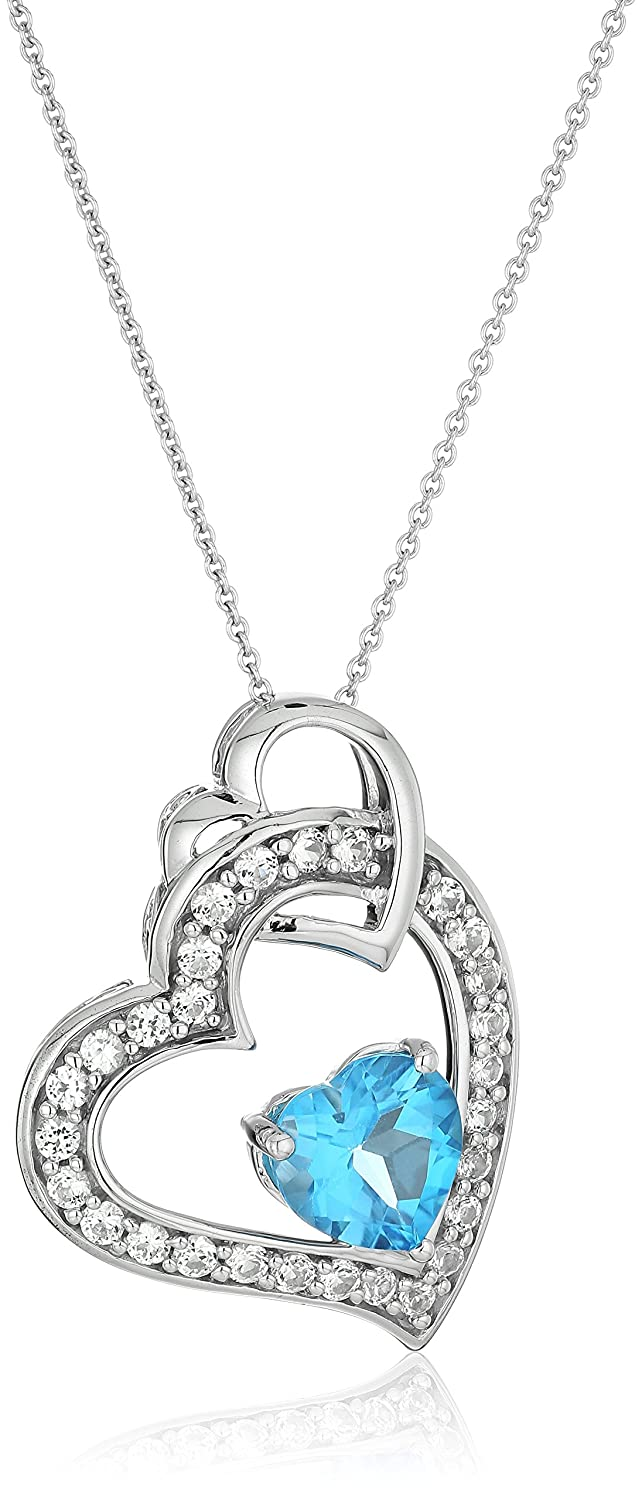 Amazon sterling silver blue topaz heart with created white amazon sterling silver blue topaz heart with created white sapphire pendant necklace 18 jewelry aloadofball Choice Image