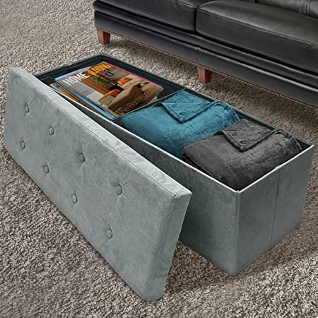 Sorbus Storage Ottoman Bench Collapsible Folding Bench Chest with Cover Perfect Toy and Shoe Chest, Hope Chest, Pouffe Ottoman, Seat, Foot Rest, Contemporary Faux Suede Large-Bench, Gray