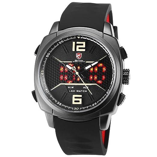 SHARK Hombre Deportivos Cuarzo Relojes de Pulseras Silicona LED Fecha día Mostrar Alarma Manos Luminosas SH487: Amazon.es: Relojes