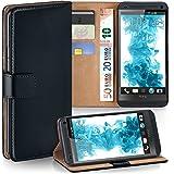 OneFlow Tasche für HTC One M7 Hülle Cover mit Kartenfächern   Flip Case Etui Handyhülle zum Aufklappen   Handytasche Schutzhülle Zubehör Handy Schutz Bumper in Schwarz