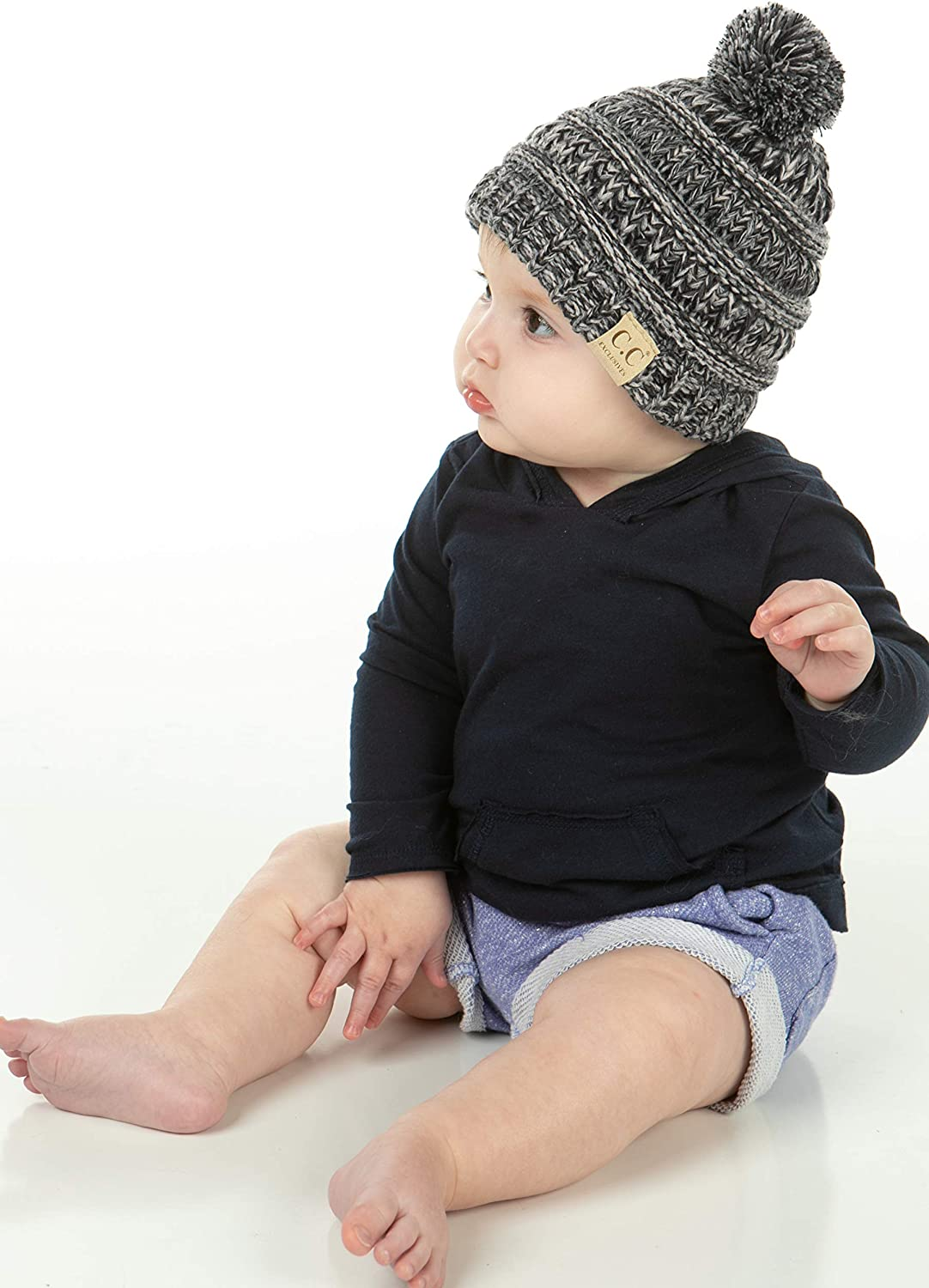 Funky Junque Exclusives Baby Infant Beanie Knit Warm Winter Pom Skull Cap Hat