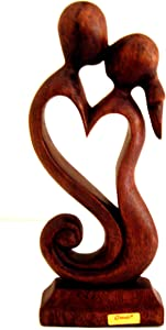 OMA Wooden Hand Crafted Romantic Love Statue Eternal Love Kiss Figurine Home Decor Gift