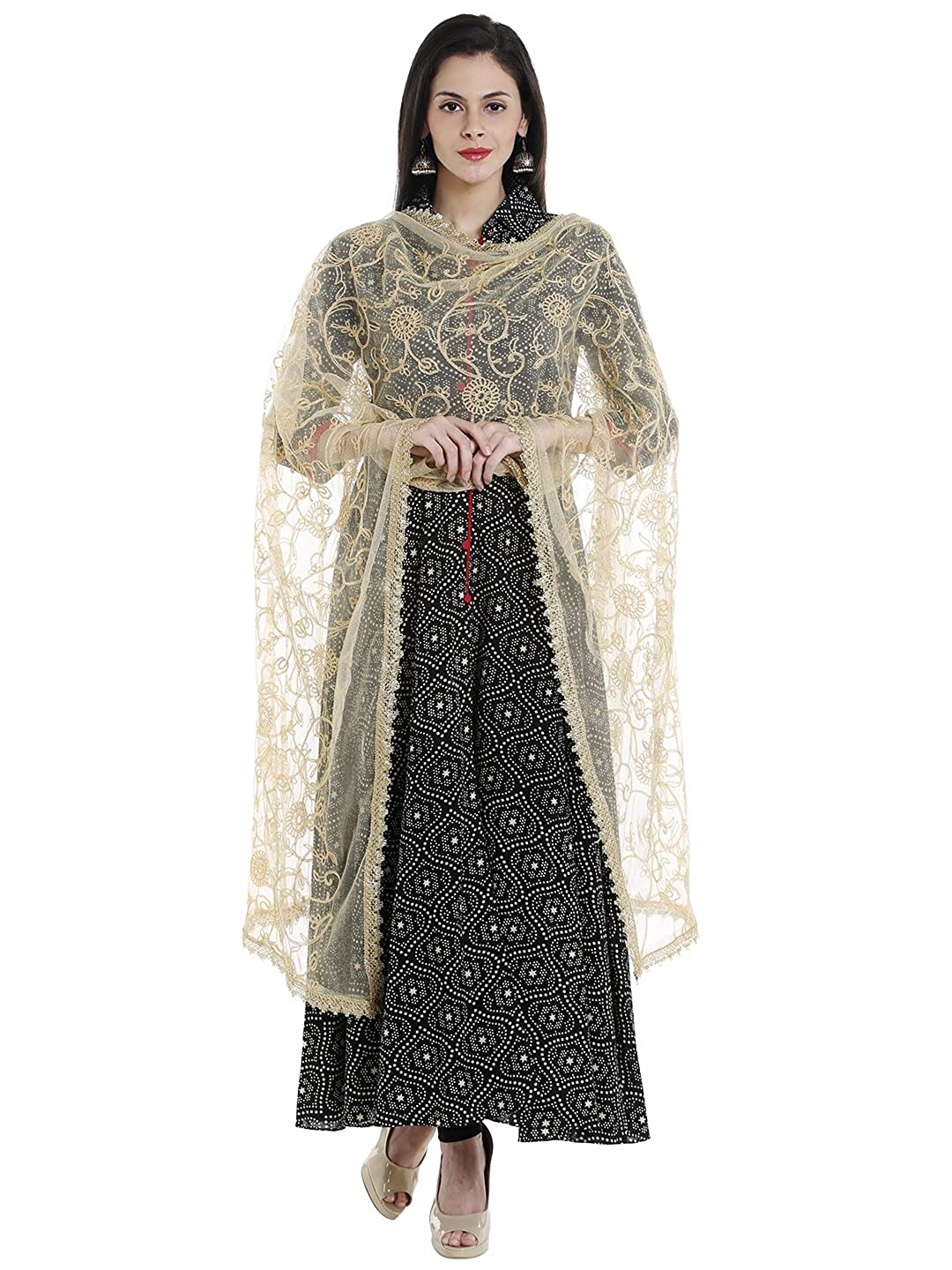 Dupatta Bazaar Women's Embroidered Gold Net Dupatta DB1359