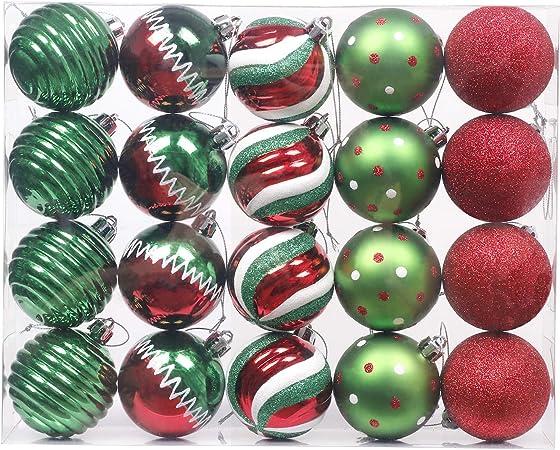 Valery Madelyn 20 Piezas Bolas de Navidad de 6cm, Adornos Navideños para Arbol, Decoración de Bolas de Navidad de Plástico Rojo Blanco y Verde, Regalos de Colgantes de Navidad (Coleccion Clasica): Amazon.es: