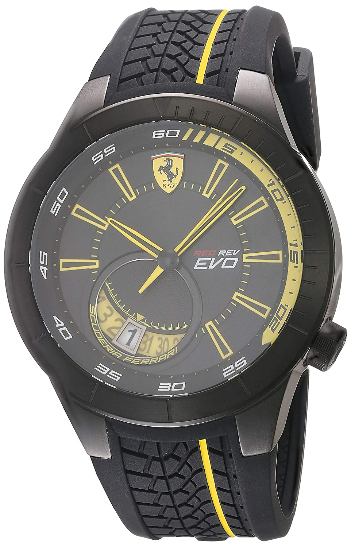 Scuderia Ferrari Men s Stainless Steel Quartz Watch with Silicone Strap, Black, 18 Model 830340