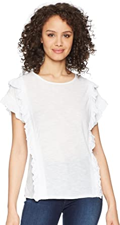 eb9c7d2ed2cae Two by Vince Camuto Women s Ruffle Front Cuff Drop Shoulder Top Ultra White  X-