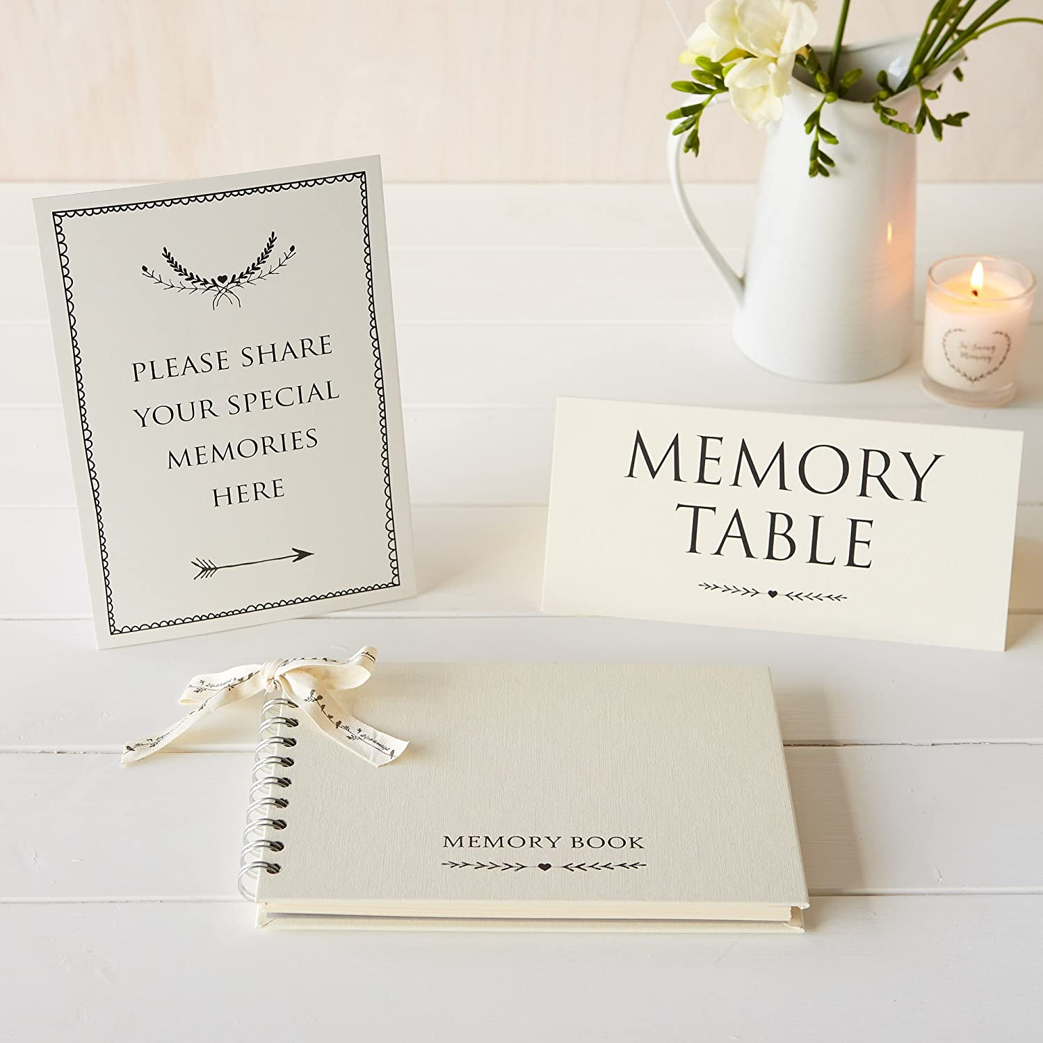 Angel & Dove Luxury A5 Memory Book & 2 Signs Set - 'Please Share Your Special Memories Here' & 'Memory Table' - Ideal for Funeral Condolence Book, Memorial, Remembrance, Celebration of Life