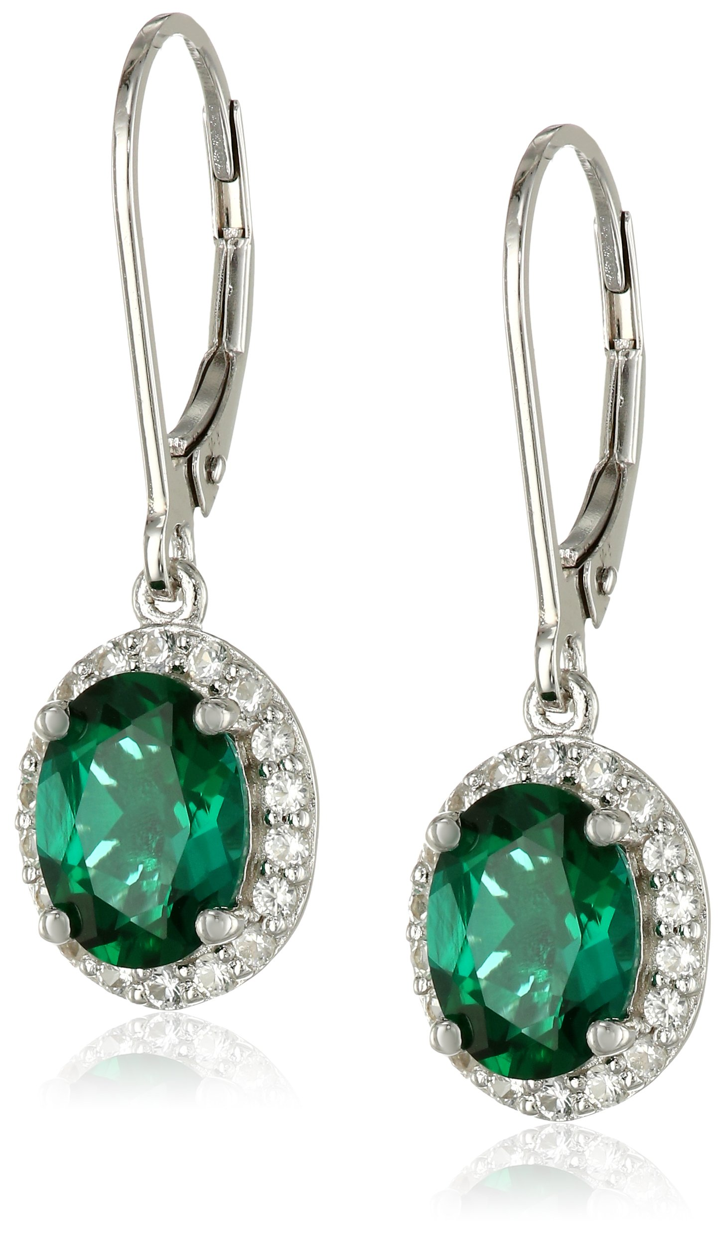 Sterling Silver Created Emerald and Created White Sapphire Lever Back Dangle Earrings