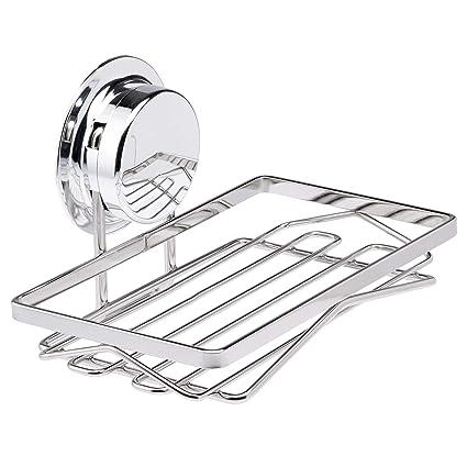 soporte para jab/ón ventosa al vac/ío para ducha tina y fregadero de cocina de acero inoxidable bandeja de almacenamiento para jab/ón caja de vasos ba/ño Jabonera
