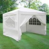 ESC Ltd 3x3mtr Pop Up Waterproof Gazebo in White with 2 WindBars and 4 Leg Weight Bags