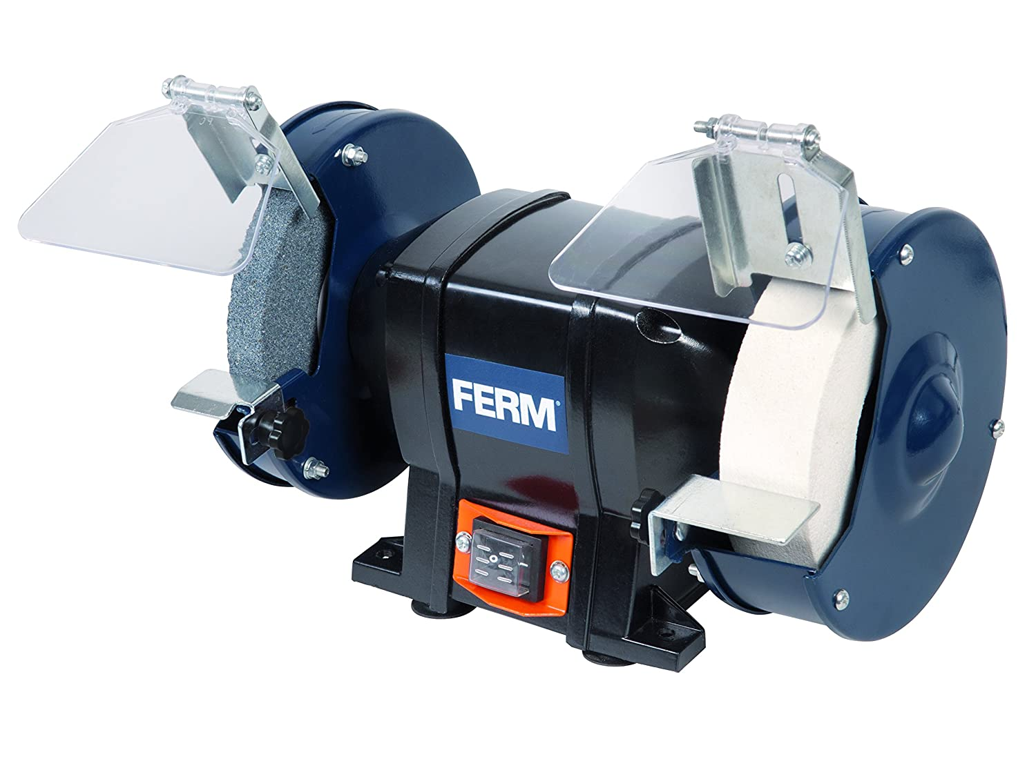 FERM Bench Grinder - 250W - 150mm - Mountable to your workbench - With 2 Grinding stones (P36 and P80), 2 Spark Arresters and 2 Work Rests BGM1020
