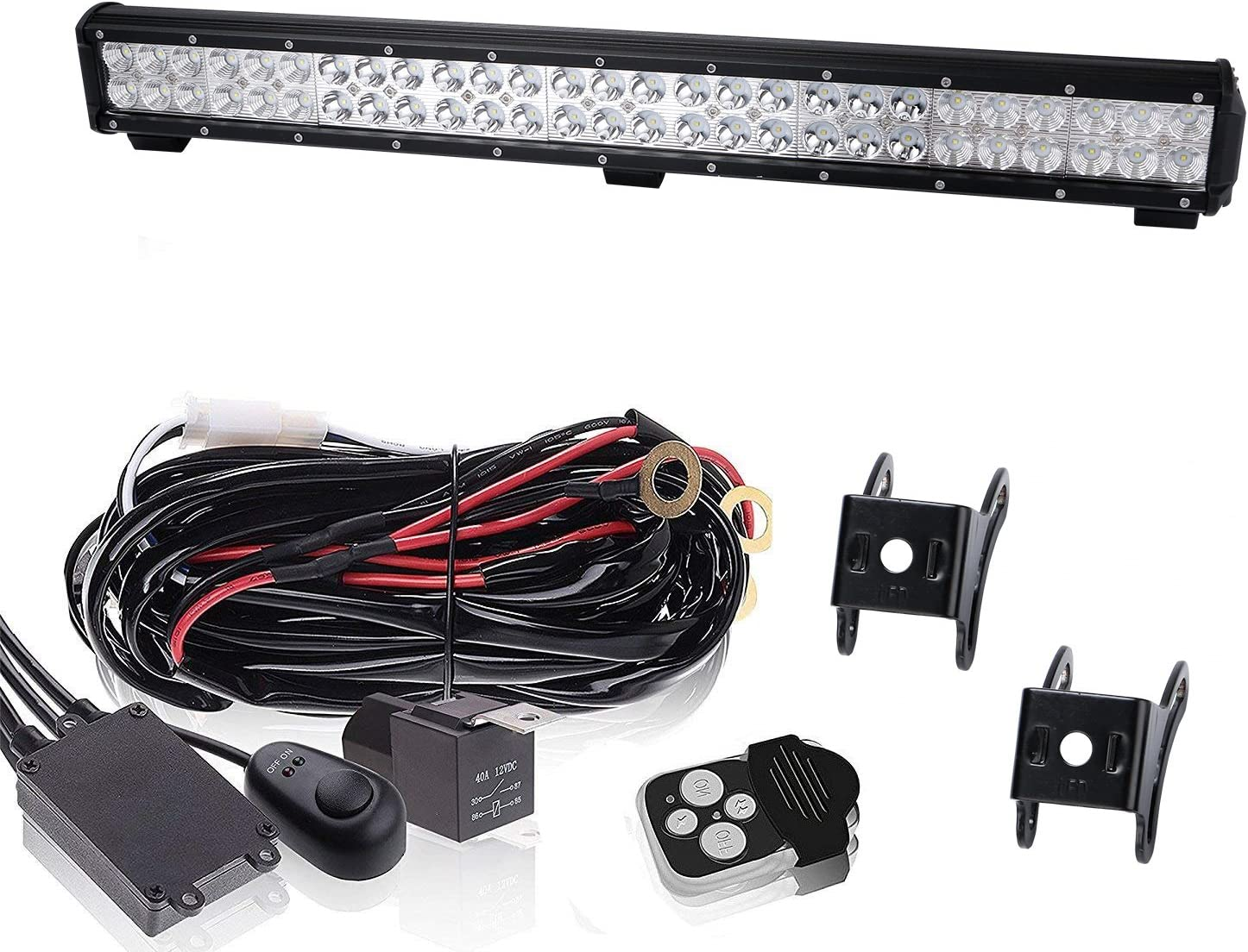 amazon.com: 25 inch 162w combo beam led light bar on front bumber w/remote  switch wiring harness for chevy silverado boat tahoe ford ranger land  cruiser suv tractor tacoma polaris truck tractor: automotive  amazon.com
