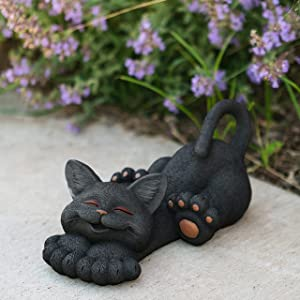 Large Whimsical Black Cat Lounging Garden Statue Indoor Outdoor Decoration - Happy Cat Collection - Cat Lover Gifts for Women, Cat Lover Gifts, Decorations for Patio Yard Lawn Porch