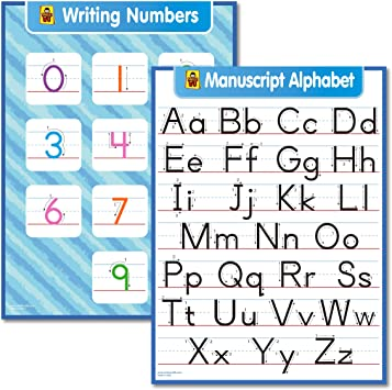3 Pack Cursive Chart /& Manuscript ABC Alphabet Laminated, 18 x 24 Writing Number Poster Wall Set -
