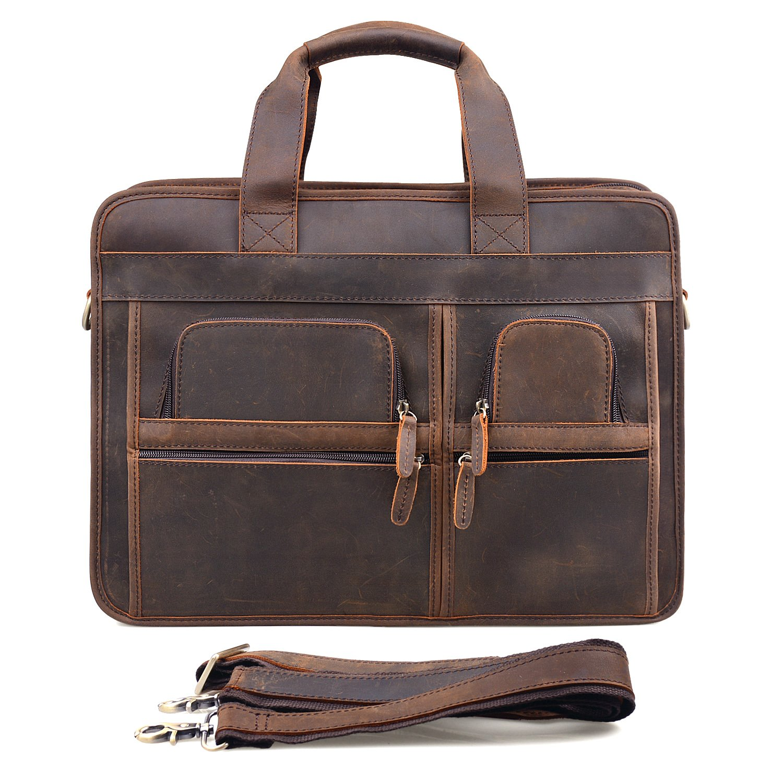 Jack&ChrisMen's Leather Briefcase Laptop Bag Messenger Shoulder Bag,NM1863
