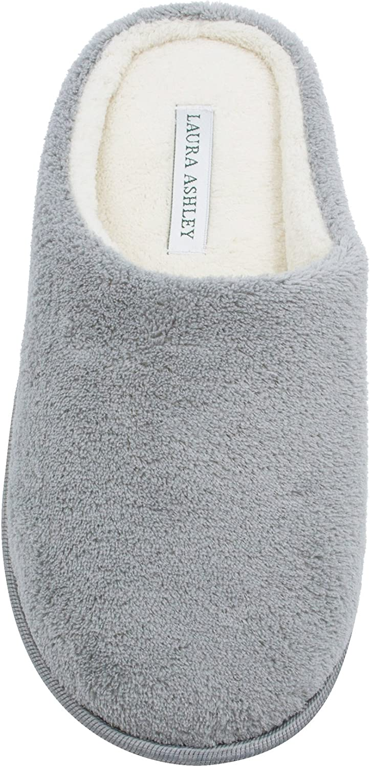 See More Colors and Sizes Laura Ashley Ladies Terry Cushioned Round Toe Clog Memory Foam Insole Slippers