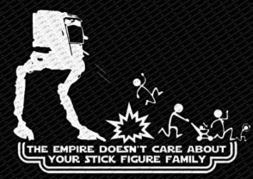 Amazoncom The Empire Doesnt Care About Your Stick Figure Family - Vinyl decals for your caramazoncom your stick family was delicious trex vinyl decal