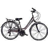 "Ammaco Traveller 700c Womens Hybrid Bike Front Suspension Alloy Low Step 19"" Frame Grey 21 Speed"