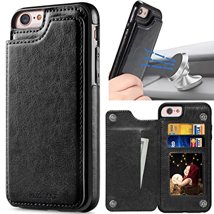 finest selection d99e1 98b5e kazineer iPhone 6 Case, iPhone 6S Case, Black Leather Slim Back Cover with  Credit Card Holder Protective Case [Compatible with Magnetic car Mount] for  ...
