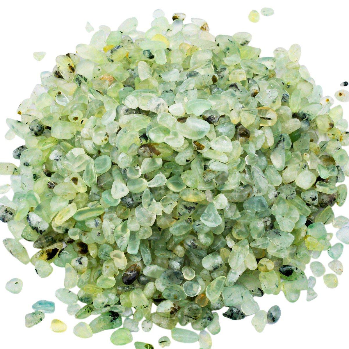 mookaitedecor 1 lb Tumbled Chip Stones Crushed Tumblestone Crystals Healing Home Decoration,Green Prehnite